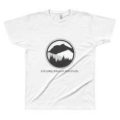 Unisex Short Sleeve Tee with Explore.Dream.Discover. on front and #KeepItWild on back of shirt.