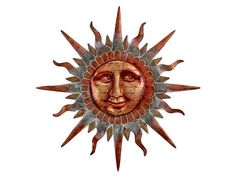 Copper Sun Face Wall Decor  casualhomefurnishings.com