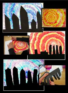 Cityscape Silhouettes - an art lesson focusing on warm and cool colors, positive and negative space, and concentric circles. Great for substitutes!