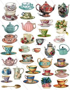 Tea Cup Drawing, Alice In Wonderland Crafts, Floral Vintage, Etsy Vintage, Decoupage Vintage, Vintage Teacups, Image Digital, Digital Collage, Collage Sheet