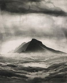 'Great Blasket Sound' aquatint by Norman Ackroyd RA (Edition of Painting in a range of media, but most comfortable with etching, Norman is one of Britain's pioneering contemporary printmakers. Norman Ackroyd, Landscape Art, Landscape Paintings, Etching Prints, Monochrom, Art Graphique, Art Plastique, Dark Art, Light In The Dark