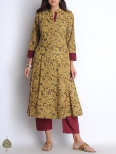 Madder Yellow Hand Woven Hand Block Printed Kalamkari Cotton Kurta by Jaypore