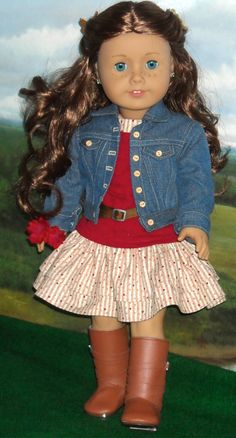 Outfit for girls like Saige. $85.00, via Etsy. Her jacket is a soft tencel denim and has lots of detail. It has lots of topstitching, flat-felled seams, faux button and buttonhole front closure, and sleeve cuffs that close with snaps under button trim. The cotton knit tee has three-quarter length sleeves, a wide neckline, and ultra-thin velcro closure at the back. The cotton print dress has a lined bodice, double layer skirt, wide neckline, and ultra-thin velcro closure at the back