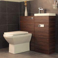 Aspen Compact Walnut 410 Combination Pack & 1200mm Walnut Vanity Unit Square Toilet Bathroom Sink Left Hand ...