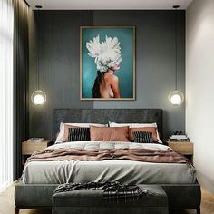 Inspirational ideas about Interior Interior Design and Home Decorating Style for Living Room Bedroom Kitchen and the entire home. Curated selection of home decor products. Small Room Bedroom, Bedroom Colors, Home Decor Bedroom, Luxury Bedroom Design, Home Room Design, Modern Luxury Bedroom, Contemporary Bedroom, Home Interior, Interior Design