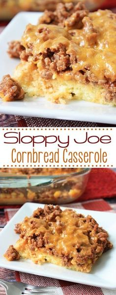 Sloppy Joe Cornbread Casserole is going to be your new family favorite meal! Homemade skillet sloppy joes top delicious cornbread – this casserole freezes well, too! Cornbread topped with corn, homemade skillet sloppy joes, and cheese. Cornbread Casserole, Casserole Dishes, Chicken Casserole, Cornbread Mix, Cowboy Casserole, Taco Casserole, Sloppy Joe Casserole, Cornbread Recipes, Brocolli Casserole