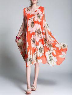 Floral Beach Printed Swing Sleeveless Midi Dress