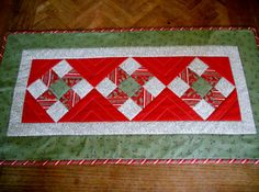 Patchwork Christmas Quilted Table Runner Nine Patch Red and Green via Etsy