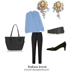 """""""Wearing Statement Earrings to the Office"""": To dress up a silk blouse and pants outfit for the office, I've chosen a blue blouse to coordinate with the blue crystals that dangle from these wonderful 1950s earrings. Black suede shoes, a black textured-leather belt and a black tote complete the outfit."""