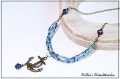 Ketten kurz - Kette mit Anker - ein Designerstück von DaBeaS-Perlenmaschen bei DaWanda
