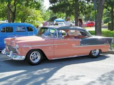 55 Chevy coral and Shadow Grey 2-tone ... Seriously, the most beautiful thing I've ever seen.