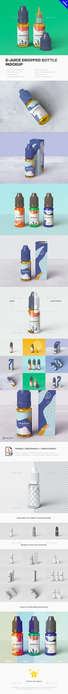 Buy E-Juice Dropper Bottle MockUp by on GraphicRiver. Check my other mockups: E-Juice Dropper Bottle MockUp is a pack of 9 PSD files, perfect for show – up your design. Mockup Templates, Design Templates, Bottle Mockup, User Interface, Presentation Templates, Your Design, Juice, Behance, Photoshop