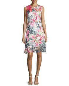 Dharma Sleeveless Floral Lace Dress  by Elie Tahari at Neiman Marcus.