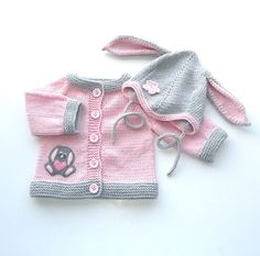 Knitted baby girl set pink and gray baby jacket and by Tuttolv, $54.00