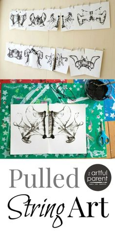 How to Do Pulled String Art with Kids #kidsart #printmaking #artsandcrafts #artforkids #kidsactivities #arteducation