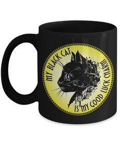 My Black Cat Is My Good Luck Charm - Yellow On Black 11oz Mug