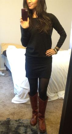 Winter. All black, brown boots.