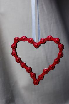 UpCYCLEd bike chain Red Heart Ornament by UpCycling4ACause on Etsy