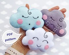 This PDF Pattern will give you instructions to make the three felt clouds. 16 Pages, 1 Pattern List Language: English THIS Felt Crafts Diy, Felt Diy, Felt Monster, Felt Finger Puppets, Softie Pattern, Felt Gifts, Clouds Pattern, Felt Patterns, Loom Patterns