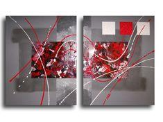 TABLEAU PEINTURE rouge noir design abstrait - Tableau toile diptyque rouge noir gris blanc art contemporain de