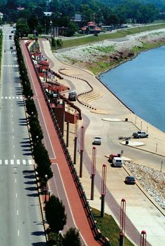 Dress Plaza is a brick paved walkway that offers scenic views along the iconic Ohio River in downtown Evansville.