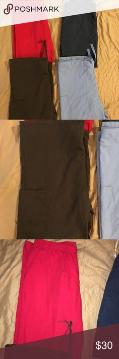Womens lot of 4 medical dental scrub pants sz: L Thank you for viewing my listing, for sale is a set of 4 / lot of 4 medical/dental scrub pants. Multi color, various brands.   All pants are size L   If you have any questions or would like additional photos please feel free to ask   DNH (Do No Harm) - navy blue  SB Scrubs - Red  Cintas - Chocolate Brown  WS Fundamentals - light blue various Pants