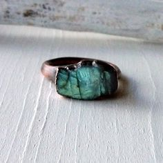 Labradorite Copper Ring Gem Stone Natural Raw by MidwestAlchemy, $68.50