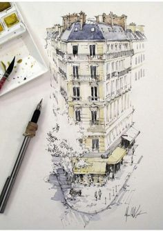Travel drawing ideas urban sketchers 39 ideas for 2019 Watercolor Architecture, Architecture Drawings, Sketchbook Inspiration, Art Sketchbook, Drawing Sketches, Art Drawings, Drawing Ideas, Cat Sketch, Kunst Poster