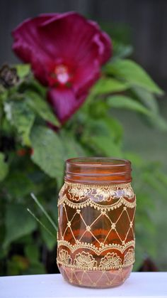 Tarro de masón naranja adornada con diseños de Henna Moda Bohemia temática linternas marroquíes fiestas vacaciones eventos decoración de boda