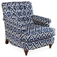 Acton Tufted Club Chair, Indigo Ikat -  backup chair