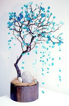 the cinderella project: because every girl deserves a happily ever after: Rhapsody in Blue Manzanita Tree Centerpieces, Manzanita Branches, Centerpiece Decorations, Wedding Decorations, Centrepieces, Wedding Centerpieces, Rhapsody In Blue, Tulips In Vase, Branch Decor
