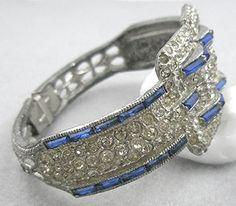 1930's Art Deco pot metal hinged clamper bracelet
