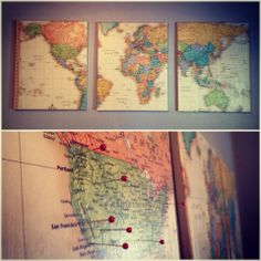 Mod Podge map on canvas hung on wall to pin where I've been :) Diy Arts And Crafts, Cute Crafts, Diy Crafts, Home Projects, Craft Projects, Mod Podge Crafts, Hanging Canvas, Map Canvas, Vintage World Maps