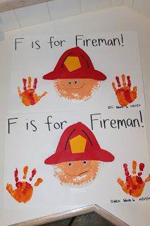 Cute craft for F is for Fireman or Fire Safety