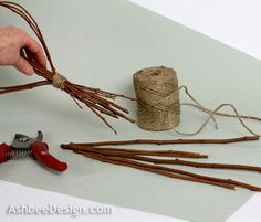 """Ashbee Design: Twig Heart Tutorial *6. After the knot is complete, take the clippers and clip off the long fat ends of the twigs at an angle. Leave the tips. I left about 4-5"""" and cut at random lengths."""
