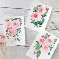 pink watercolor roses by Crystal (@arty_pea) on Instagram ,,, loose floral technique ... Watercolor Rose, Watercolor Sketch, Purchase Card, More Than One, Crystals, Roses, Illustration, Floral, Artist