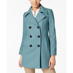 Anne Klein Double-Breasted Wool-Blend Peacoat ($167) ❤ liked on Polyvore featuring outerwear, coats, goblin blue, double-breasted pea coat, peacoat coat, blue peacoat, wool-blend peacoat and anne klein