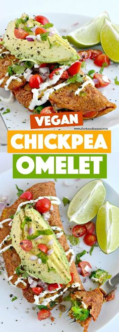 Breakfast just got EASY and tasty with this simple to make vegan Chickpea Omelet for (Vegan Recipes Healthy) Vegetarian Breakfast, Vegan Breakfast Recipes, Vegetarian Recipes, Healthy Recipes, Free Recipes, Vegan Foods, Vegan Dishes, Whole Food Recipes, Cooking Recipes