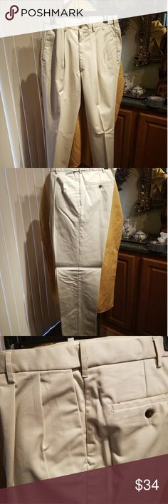 RARE SIZE Haggar premium no iron khaki Classic fit, pleated front, hidden expandable waistband RARE 34X34 Haggar Pants Chinos & Khakis