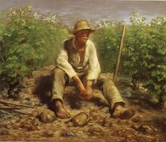 Jean François Millet Vineyard Labourer Resting c. 1869-70 70.5 x 84 cm Pastel and black chalk and possibly gouache, on brown wove paper