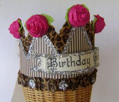 Birthday crown/hat - BIRTHDAY GIRL or anything you want - Pink and Brown- adult or child. $24.00, via Etsy.