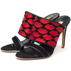 Rupert Sanderson High Heel Mules ($875) ❤ liked on Polyvore featuring shoes, mule shoes, high heel shoes, black high heel mules, suede mule shoes and black high heel shoes