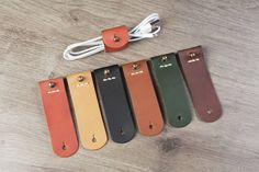 Cable Keeper / Leather cord organizer - vegetable tanned- Cable Holder- USB Holder -for USB iPhone 5