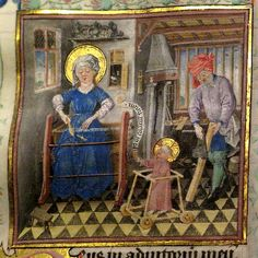 The cozy holy family  Daily life in the 15th century (in Europe) can be seen in this scene of the holy family from the Hours of Katherina van Kleef (Catherine of Cleves, c. 1440). This book is subject of an exhibition in Museum Het Valkhof in Nijmegen, The Netherlands from 10 October 2009 to 3 January 2010.  Within a domestic interior scattered with tools and utensils, the Virgin weaves, baby Jesus takes his first steps in a walker, and Joseph planes a board