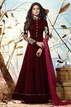 bf8da301bc12d Buy Jennifer Winget Faux Georgette Anarkali Suit In Maroon Colour for women  @ ninecolours.com