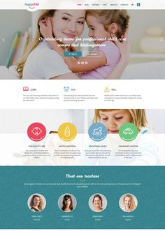 HappyChild - Kindergarten WordPress Theme We develop a pretty cool, professional-looking websites with forms, maps, and photo galleries and more. Website Design Layout, Web Layout, Website Design Inspiration, Design Ideas, Wordpress Theme Design, Premium Wordpress Themes, Education Website Templates, Web Design Services, Design Strategy