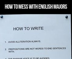 Messing with an English major…