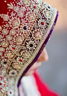 Bejeweled red wedding veil for desi bride.