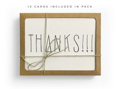 Hand Lettered Thanks Card Pack, Recycled Card Pack, Thank You Card Set