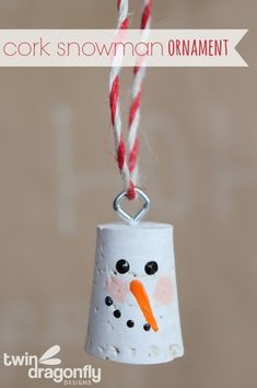 Cork Snowman Ornament - seven thirty three